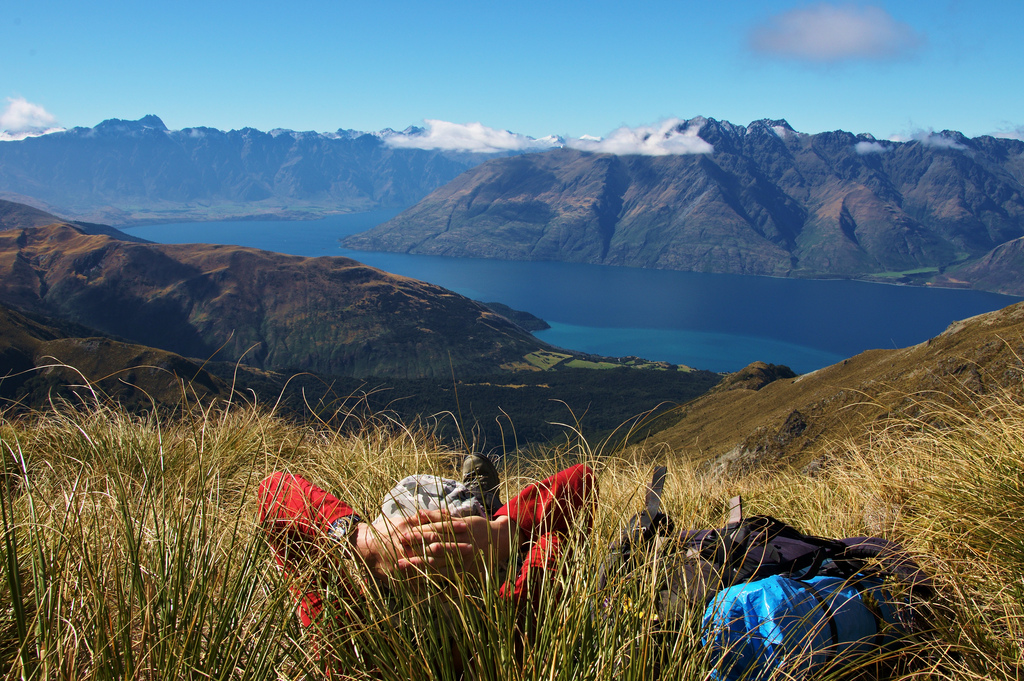 Hiker relaxing in New Zealand