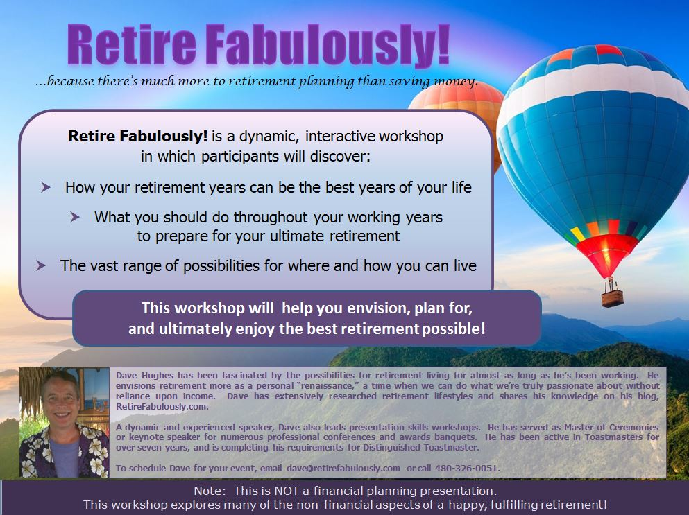 Retire Fabulously! workshop promo flyer
