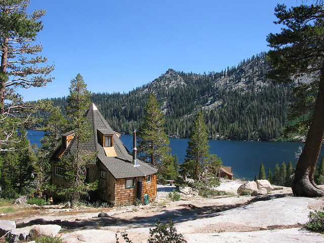 Mountain house on lake