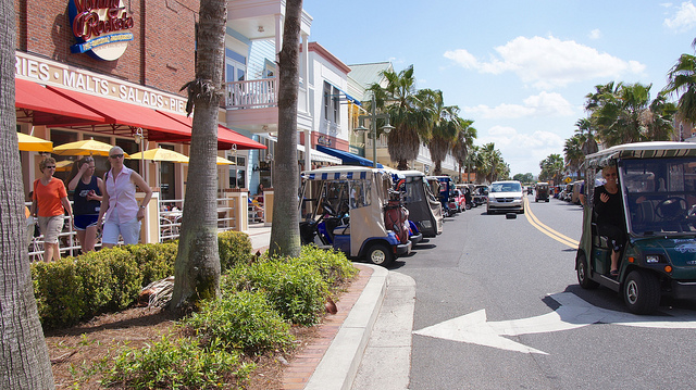 Golf carts are the primary mode of transportation in 55+ active adult communities such as The Villages, Florida.