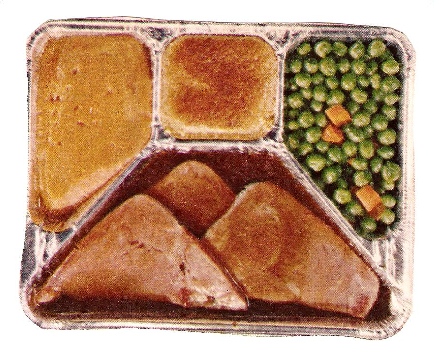 "Long before microwave ovens, frozen dinners (called ""TV dinners"") came packaged in foil divided trays."
